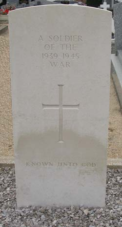 An unknown soldier's grave, L'Herbaudiere, Noirmoutier, France